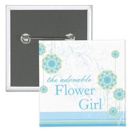 Snow Flower Swirls Blue Flower Girl Custom Button