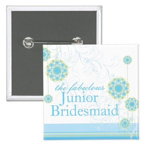 Snow Flower Swirls Blue Junior Bridesmaid Button