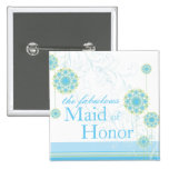 Snow Flower Swirls Blue Maid of Honor Button