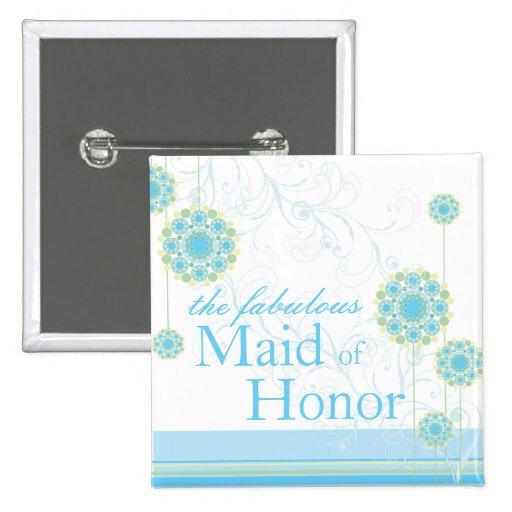 Snow Flower Swirls Blue Maid of Honor Button