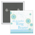 Snow Flower Swirls Blue Ring Bearer Custom Button