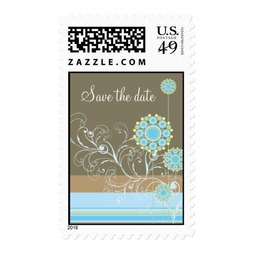 Snow Flower Swirls Blue Save The Date Postage