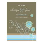 Snow Flower Swirls Blue Save The Date Postcard Postcard