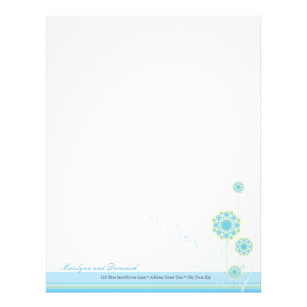 snow flower swirls blue wedding letterhead