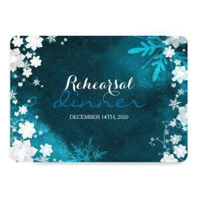 Snow Flowers Posh Winter Wedding Rehearsal Dinner 5x7 Paper Invitation Card