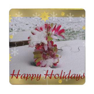 Snow Flowers Puzzle Coaster
