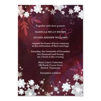 Snow Flowers Wine Red, White Winter Wedding Invite Custom Announcements