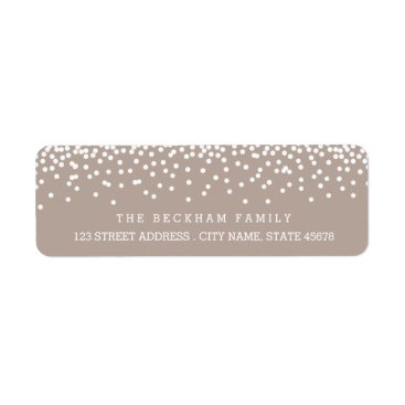 Christmas Themed Snow Flurry Holiday Return Adress Labels / Beige