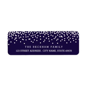 Christmas Themed Snow Flurry Holiday Return Adress Labels / Navy