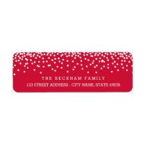 Snow Flurry Holiday Return Adress Labels / Red