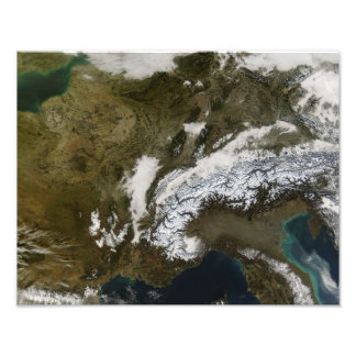 Snow, fog, and low clouds in western Europe Photo Print