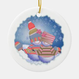 Snow Folk Ceramic Ornament