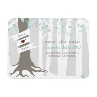 Snow Forest Winter Wedding Save The Date Magnet