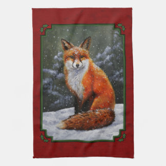 Snow Fox Festive Holiday Red Kitchen Towel