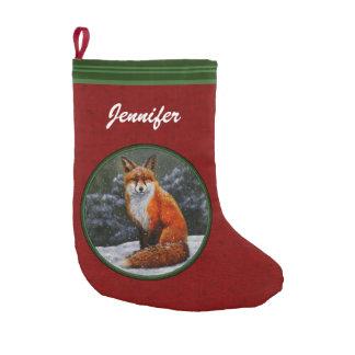 Snow Fox Festive Holiday Red Small Christmas Stocking