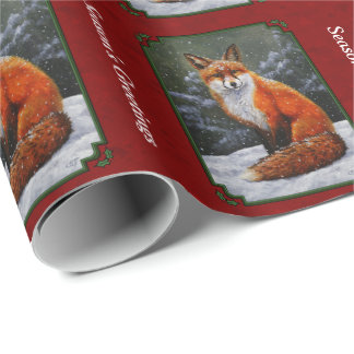 Snow Fox Festive Holiday Red Wrapping Paper