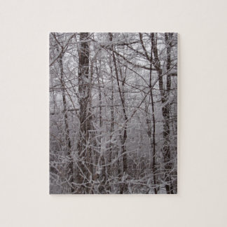 Snow Frosted New England Trees Puzzles