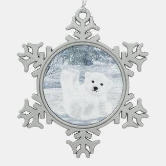 Snow Fun - Polar Bear Cub, Snowflake Pewter Christmas Ornament