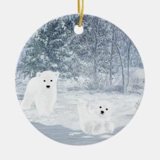 Snow Fun - Polar Bear Cubs, Ceramic Ornament