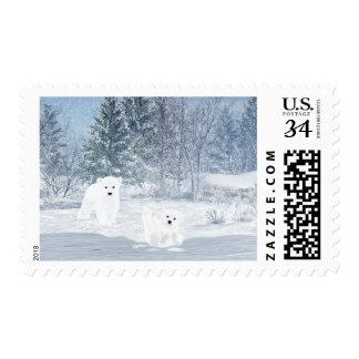 Snow Fun - Polar Bear Cubs, Postage