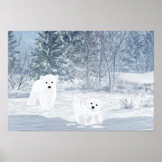 Snow Fun - Polar Bear Cubs, Poster