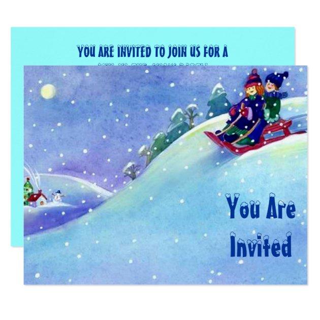 SNOW FUN WINTER BIRTHDAY PARTY INVITATION SLEDDING | Zazzle