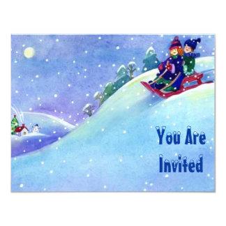 SNOW FUN WINTER BIRTHDAY PARTY INVITATION SLEDDING