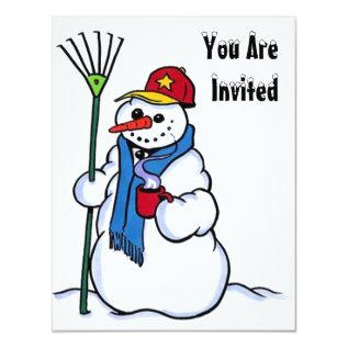 Snow Fun Winter Birthday Party Invitation Snowman at Zazzle