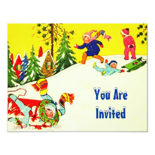 SNOW FUN WINTER BIRTHDAY PARTY INVITATION SNOWMAN at Zazzle