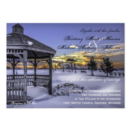 Snow Gazebo Tree Sunset Winter Wedding Invitations Zazzle Com
