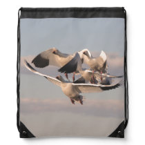 Snow Geese Birds Wildlife Animals Drawstring Backpack