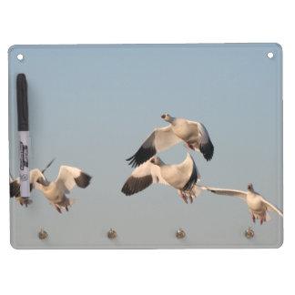 Snow Geese Birds Wildlife Animals Flying Dry Erase Board With Keychain Holder