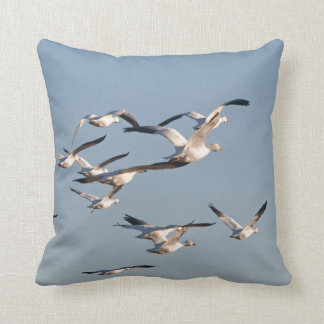 Snow Geese Birds Wildlife Animals Flying Throw Pillow