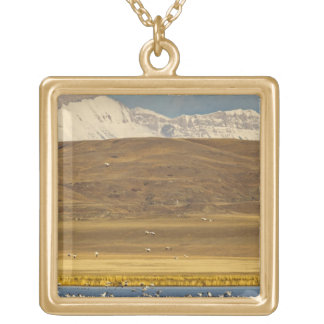 Snow geese during spring migration square pendant necklace