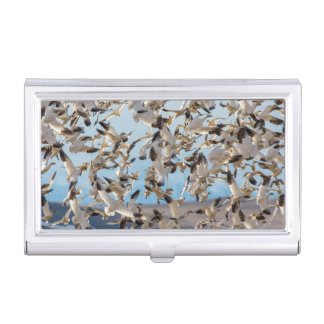 Snow Geese Fill The Sky After Feeding In Barley Business Card Holder