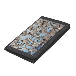 Snow Geese Fill The Sky After Feeding In Barley Tri-fold Wallets