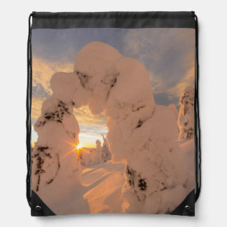 Snow Ghosts In The Whitefish Range Drawstring Backpack
