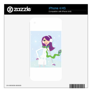 SNOW GIRL Illustrated handdrawn Fairytale art Decals For iPhone 4