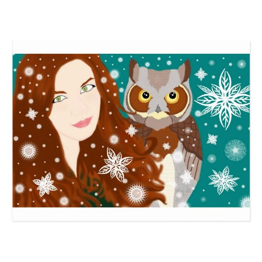 snow girl postcard