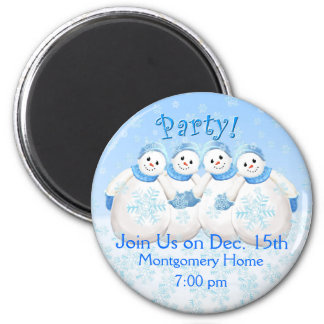 Snow Girls Christmas Party Invitation Magnet