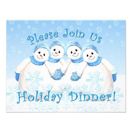 Snow Girls Holiday Dinner Invitations