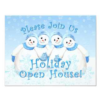 "Snow Girls Holiday Open House Invitations 4.25"" X 5.5"" Invitation Card"