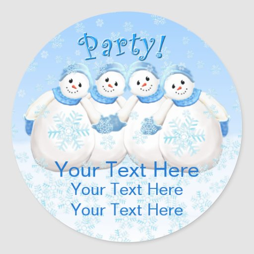 Snow Girls Holiday Party Stickers