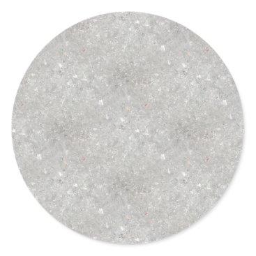 Beach Themed Snow Glitter Classic Round Sticker