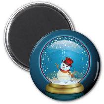 art, design, xmas, star, snow-globe, pop, cute, funny, snowmen, blue, gold, decoration, christmas, snow globe, illustration, winter, snowman, Ímã com design gráfico personalizado