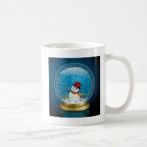 art, design, xmas, star, snow-globe, pop, cute, funny, snowmen, blue, gold, decoration, christmas, snow globe, illustration, winter, snowman, Mug with custom graphic design