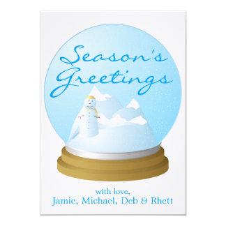 snow globe 5x7 paper invitation card