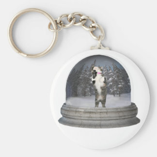 Snow globe cat keychain