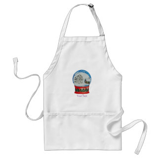 Snow Globe Crystal Ball Winter Village Christmas Adult Apron