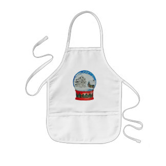 Snow Globe Crystal Ball Winter Village Christmas Kids' Apron